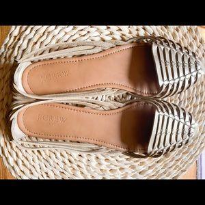 JCrew Huarache Sandals Metallic Gold